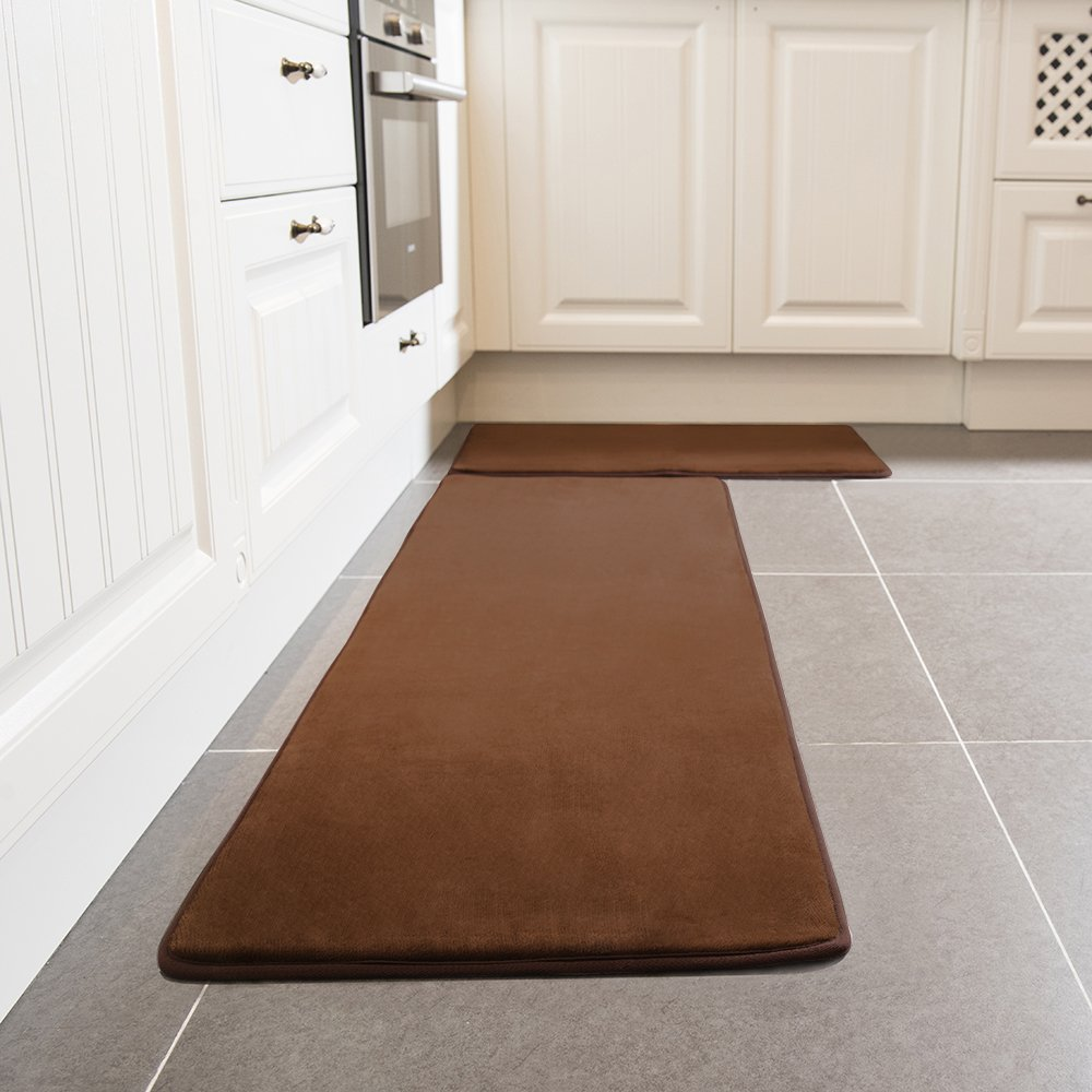 Kitchen Rug Set, LEEVAN Memory Foam Kitchen Comfort Mat Super Soft Rug  Microfiber Flannel Area Runner Rugs Non-Slip Backing Washable Bathroom Rug  Set of 2