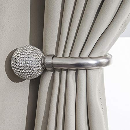 Harmony Home Decorative Curtain Holdbacks Wall Mounted Curtain Tie Backs  Pack of 2 Availablie in Black or Silver (Silver, Ball Diamond):  Traveller Location.uk: