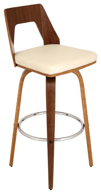 Trilogy Mid Century Modern Swivel Barstool in Walnut Wood With Cream PU  Fabric