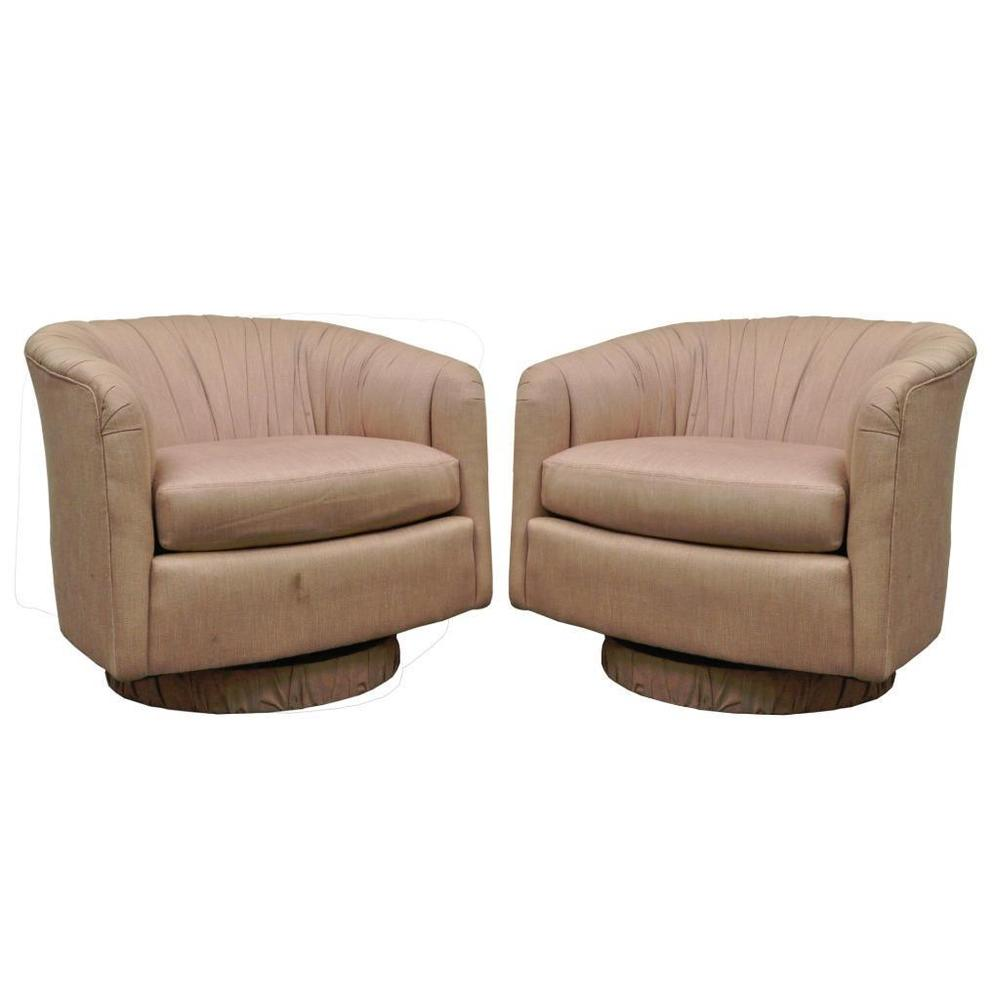 Pair Vintage Mid Century Modern Dansen Swivel Club Lounge Chair Milo  Baughman Armchair Mint Throw Blanket Danish London Grey Leather Couch High  Back