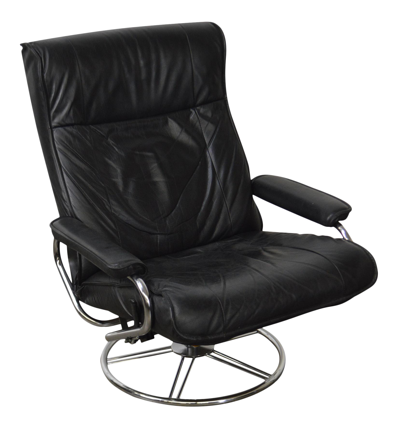 Kebe Black Leather Mid-Century Modern Style Swivel Reclining Lounge Chair |  Chairish