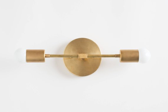 Bathroom Lights - Vanity Lighting - Mid Century Modern - Brass Vanity -  Bathroom Lighting - Gold Sconce