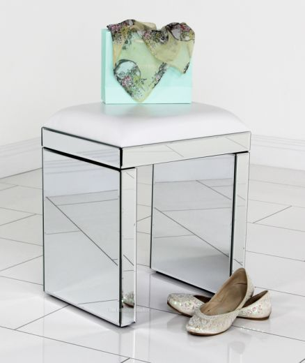 Venetian Mirrored Glass Dressing Table Stool - White Faux Leather