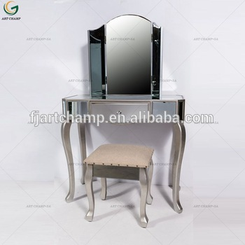 Venetian Mirrored Glass Dressing Table Mirror Stool Set - Buy