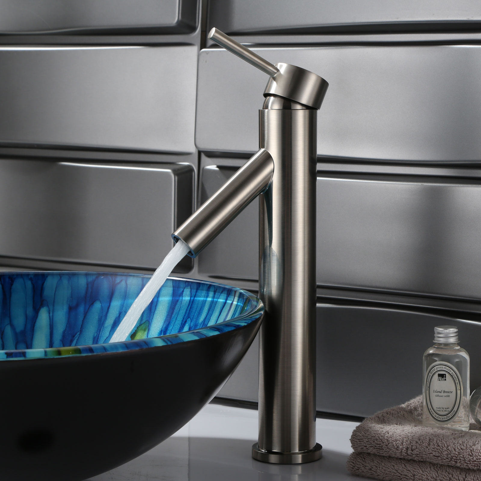 ELITE 2659BN Modern Bathroom Sink Faucet Brushed Nickel Finish