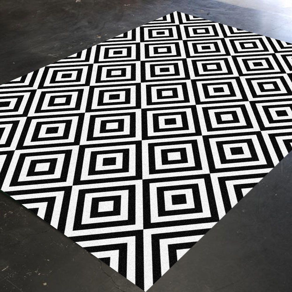 Black And White Rug, Geometric Rug, Bedroom Rug, Living Room Rug, Christmas  Rug…