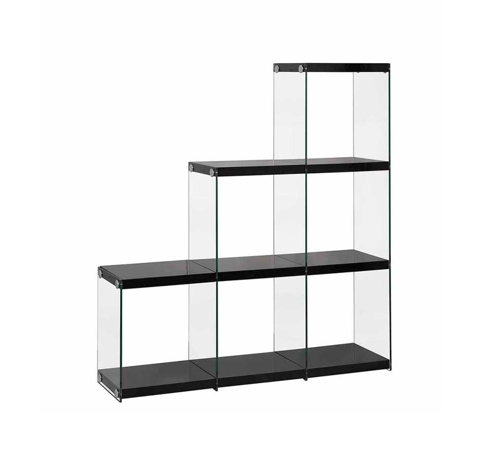 Modern Black Bookcase with Glass Sides CO 260