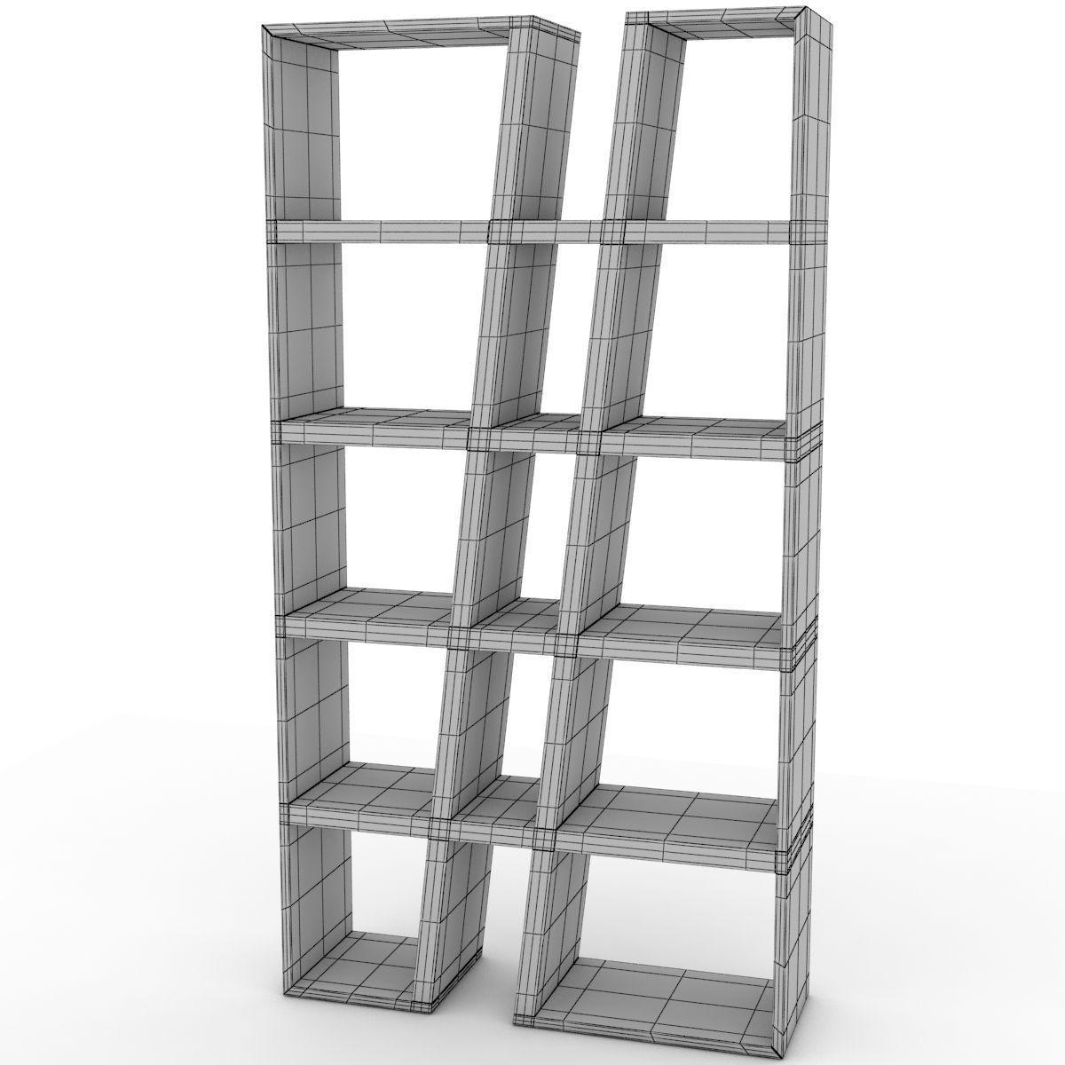 modern bookshelf 3d model max obj mtl 3ds fbx 10