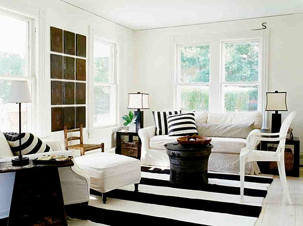 View in gallery Modern country living room with stripes