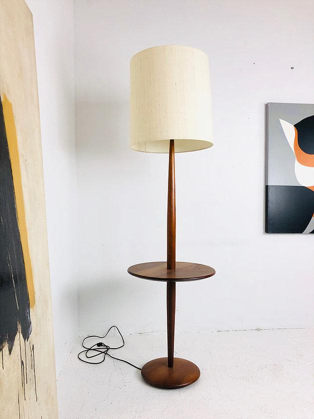 Mid-Century Modern Floor Lamp With Table | Chairish