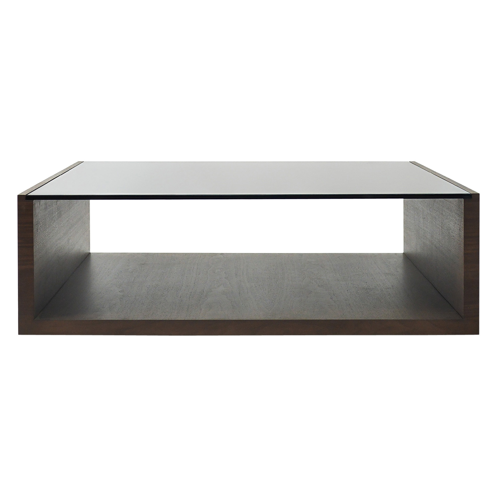 Zoom image Modern Coffee Table With Walnut Veneer And Smoke Glass  Contemporary, Glass, Wood, Center