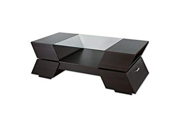 ioHOMES Annika Ultra Modern Glass-Top Coffee Table, Espresso