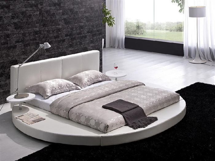 Modern King Bed With White Leather Headboard Round TOS T009 WH K Plan 8
