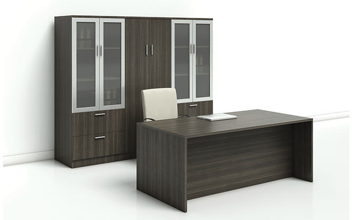 commercial desk and storage set - MODERN