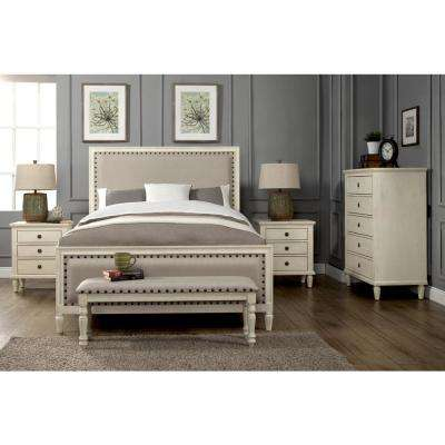 Cambridge 5-Piece Queen Bedroom Set with Solid Wood and Upholstered Trim in  White Wash