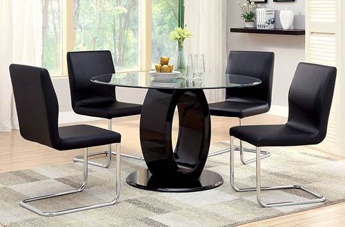 Furniture Modern Round Glass Table Sets. Furniture of America Quezon Round  Glass Top Pedestal Dining Table