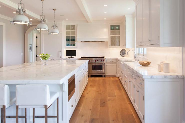 White KItchen with White Industrial Island Pendants - Transitional