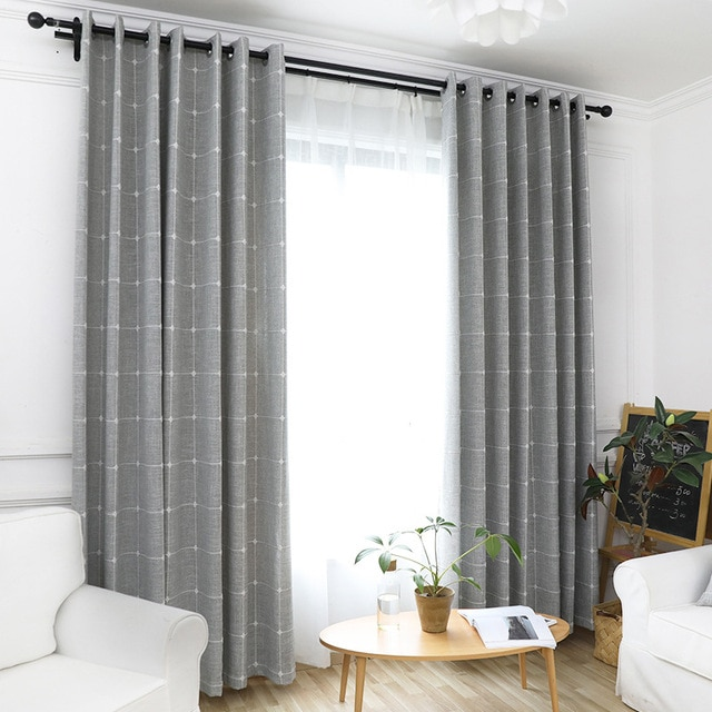 Linen Plaid Curtains for Living Room Yarn Dyed Modern Window