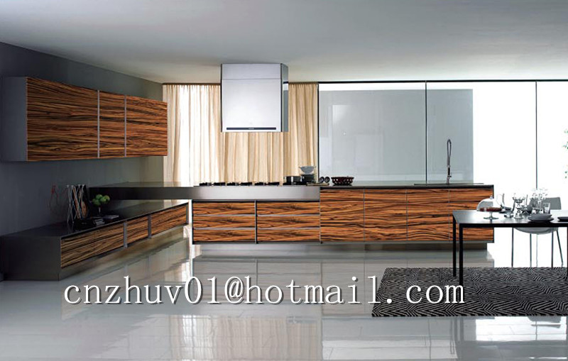 Modern Kitchen Cabinet Design Wood Grain Pattern High Gloss Uv Paint