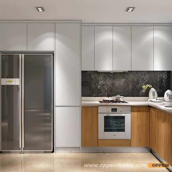 Guangzhou Modern White Matte Lacquer and Wood Grain Melamine Kitchen