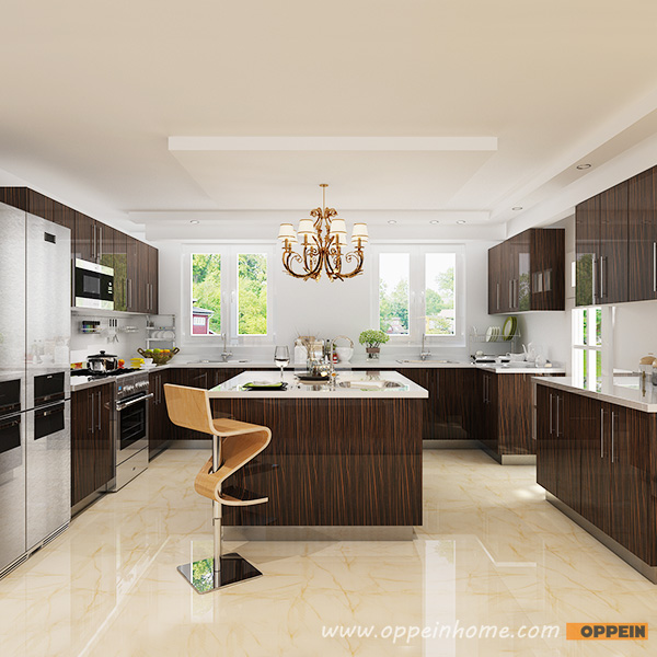 OPPEIN Kitchen in africa » OP15-HPL07: Modern High Gloss Wood Grain