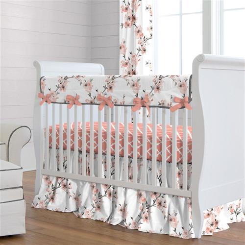 Light Coral Cherry Blossom Crib Bedding