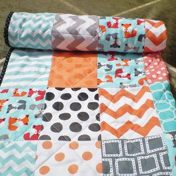 Modern baby quilt,baby quilt,baby boy bedding,baby girl quilt,ru