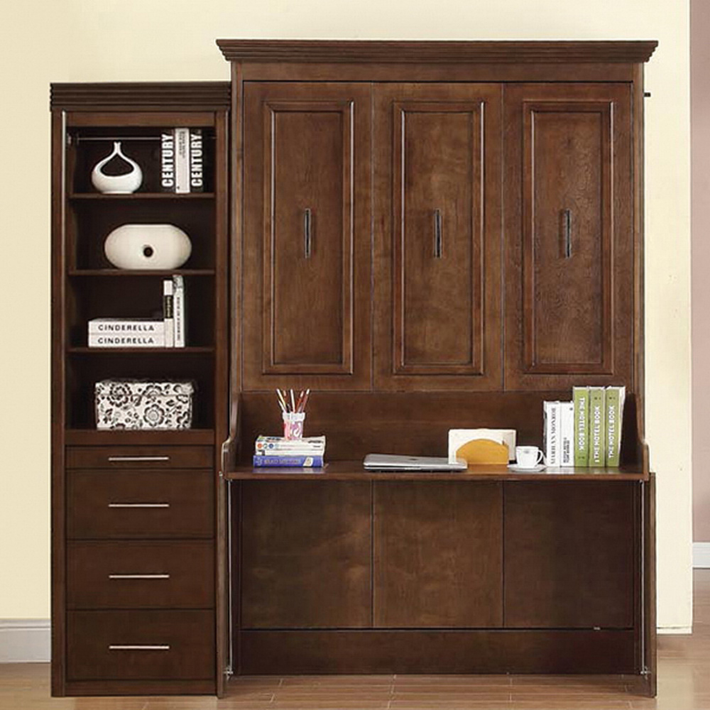large espresso wooden murphy bed with desk and storage for home furniture  idea