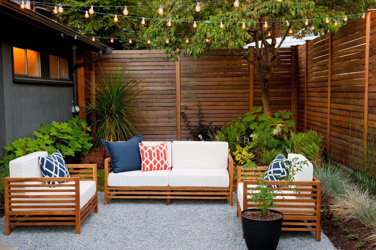 Modern Seattle Courtyard. A cozy outdoor seating area is illuminated by LED  string