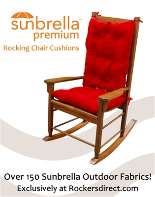 Sunbrella Rocking Chair Cushion Set - Red, Yellow & Orange Fabrics