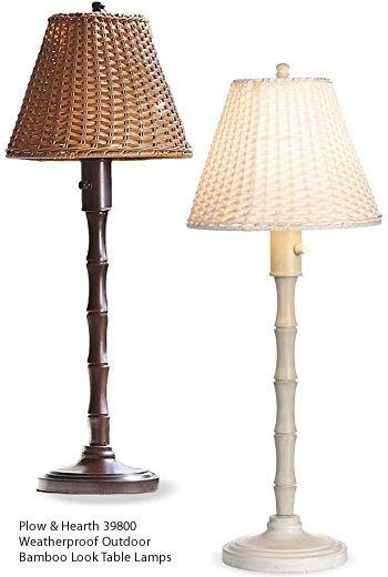 Plow & Hearth 39800 Weatherproof Outdoor Bamboo Look Table Lamps