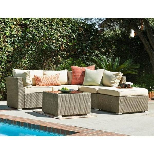 Jicaro 5 Piece Outdoor Wicker Sectional Sofa Set | Thy HOM u2013 Rattan