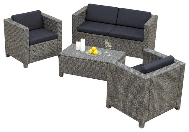 4-Piece Venice Outdoor Wicker Sofa Set - Contemporary - Outdoor