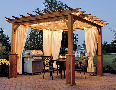 wood gazebo on patio with outdoor kitchen | Outdoor Garden Buildings