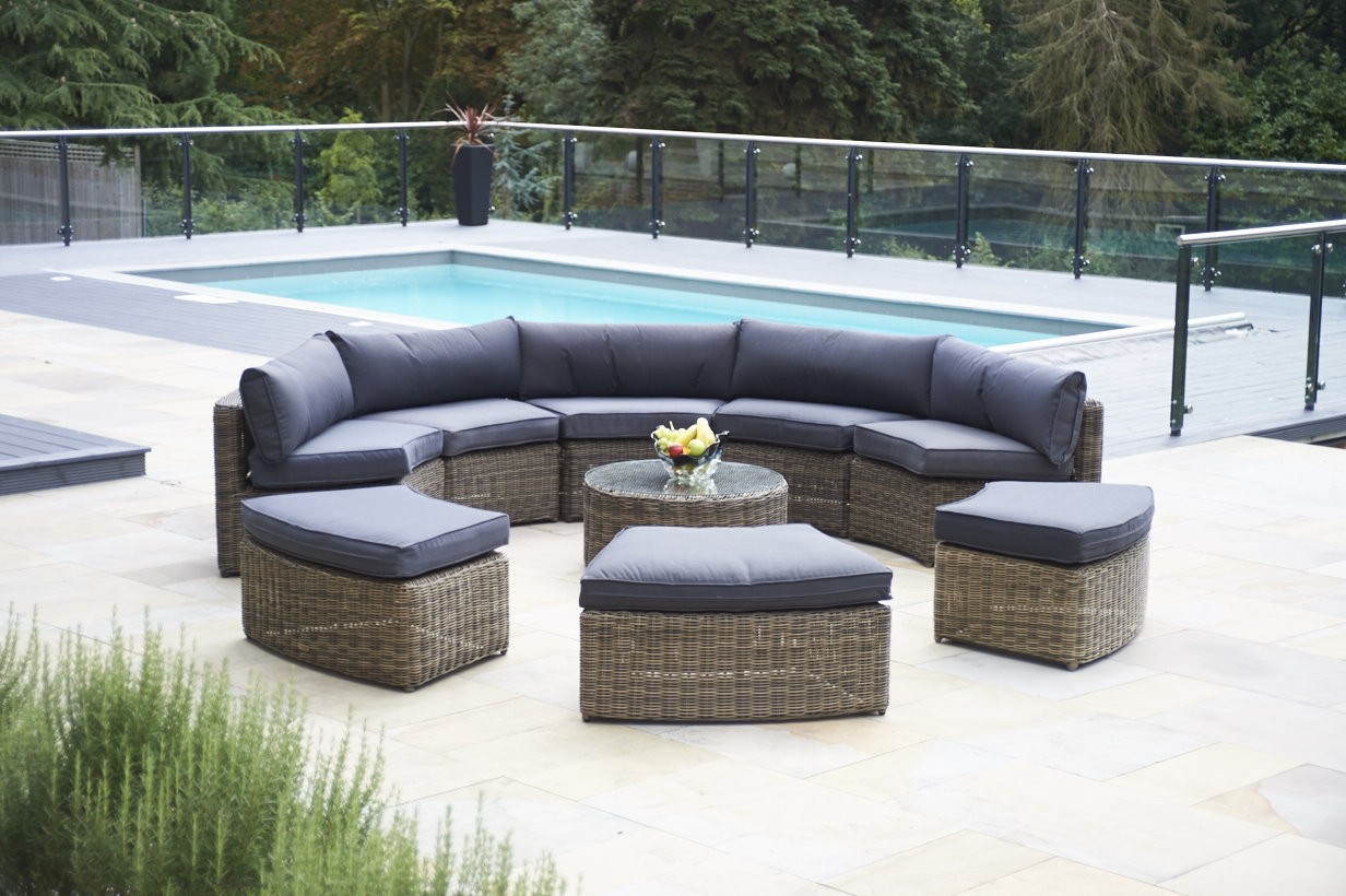 Mayfair Outdoor Furniture Patio Furniture Clearance Sale 9 Piece  Mayfair Curved Modular Rattan Garden