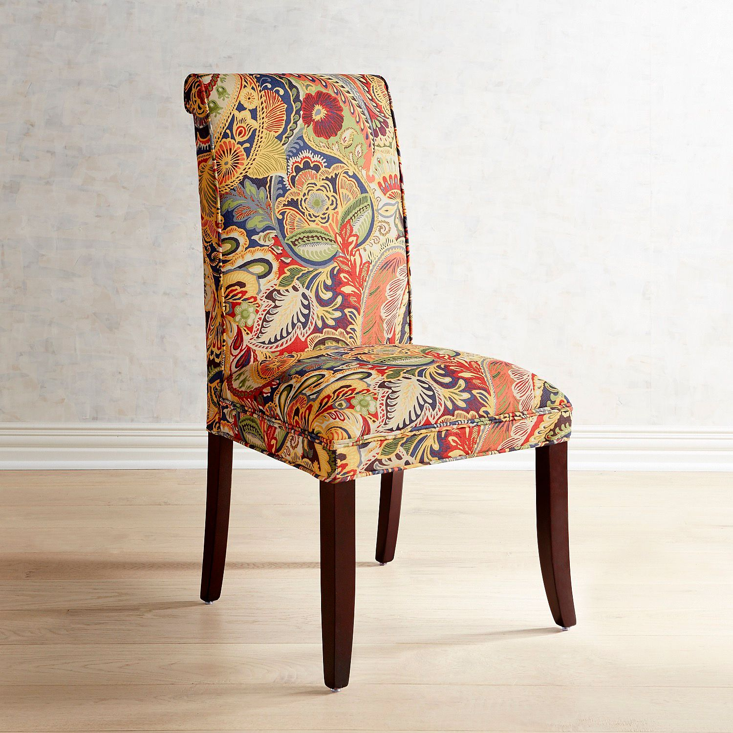 Angela Vibrant Paisley Dining Chair with Espresso Wood