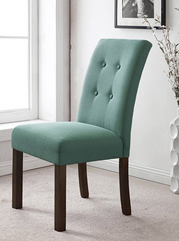 HomePop Modern 4-button Tufted Aqua Blue Upholstered Parson Dining Room  Chairs (Set of