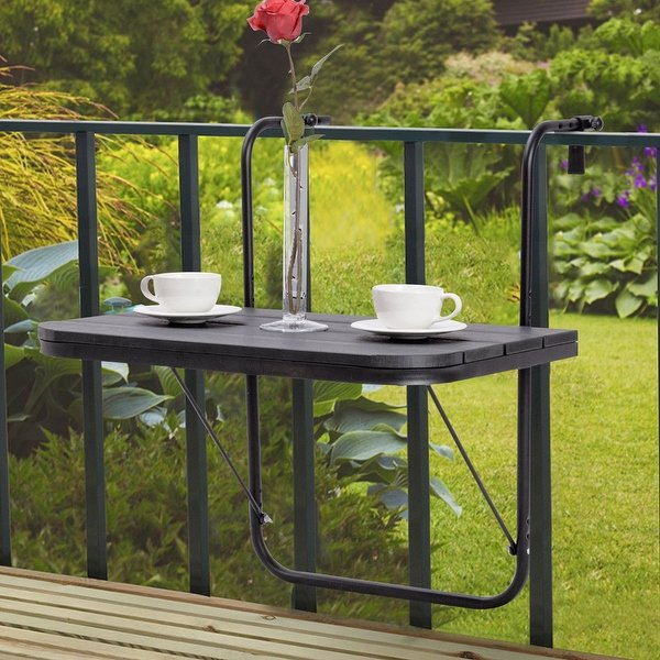 Costway Folding Balcony Deck Table Patio Small Side Stand Hanging Railing  Adjustable - Black