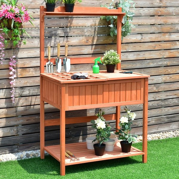 Costway Potting Work Station Table Bench Wood Garden Patio Deck Outdoor  Planting - as pic