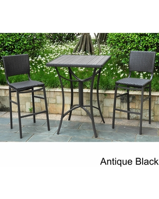 International Caravan Barcelona Resin Wicker/ Aluminum Bar-height Patio  Bistro Set (Set of
