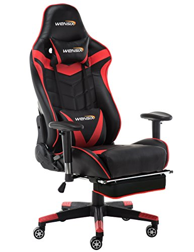 WENSIX Ergonomic High Back Computer Gaming Chair for PC Racing Chairs with  Adjustable Footrest (Red) - Best Buy Laptops