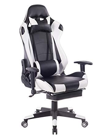 HEALGEN Big and Tall Gaming Chair With Footrest PC Computer Video Game Chair  Racing Gamer Pu