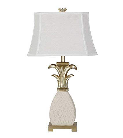 "32"" Mediterranean Style White Gold Abstract Pineapple Table Lamp  Bedroom Living Room"