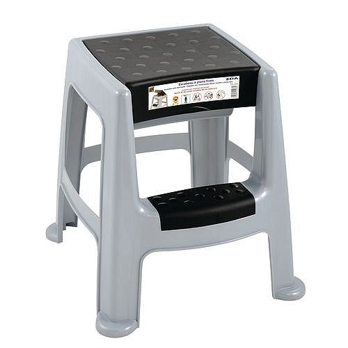 Light Duty Plastic Step Stool With Storage Box 150kg Grey
