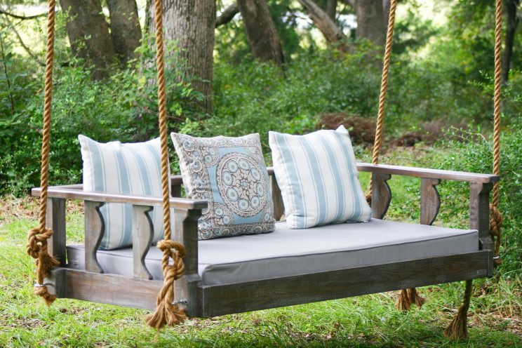 M - Unfinished Used Wood Custom Porch Swing Using Rope Hanger And Ligh Gray  Matters Combined With Blue White Striped Pattern Cushions With Metal Swing  Bench