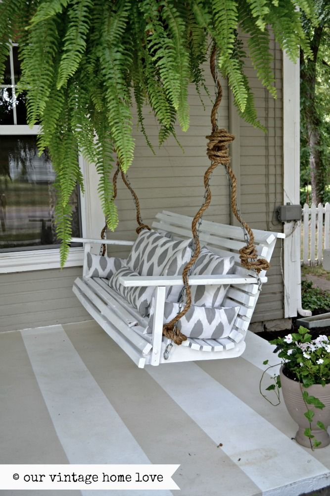 Weave rope around the chain on your porch swingnice look I would use  white rope or green | The Great Outdoors | Porch, Summer porch, Porch swing