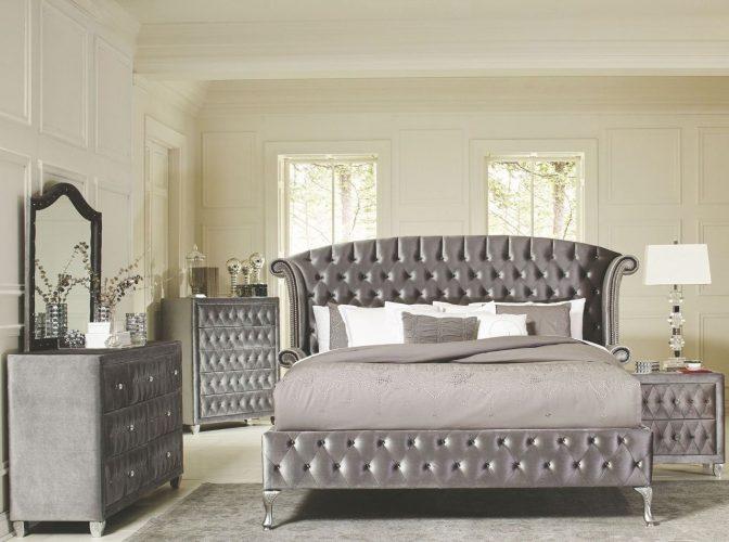 4 Pc Deanna Grey Velvet Queen Size Platform Bedroom Set 205101q Full