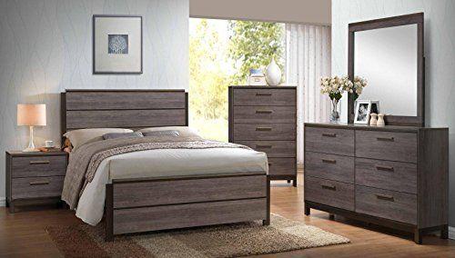 Kings Brand Antique Grey Wood Queen Size Bedroom Set. Bed, Dresser