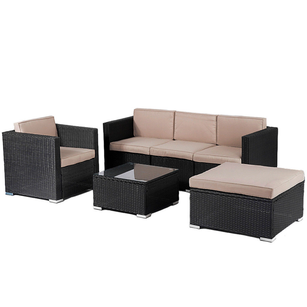 Patio Furniture Outdoor Wicker Rattan Garden Furniture Set 6pcs Sofa  Conversation Set With Cushions And Tempered Glass TableTop For Yard -  Traveller Location