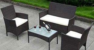 Image Unavailable. Image not available for. Color: Costway 4 PC Patio  Rattan Wicker Chair Sofa Table Set